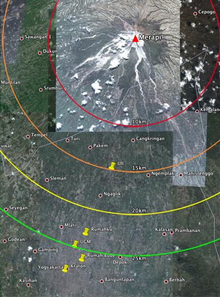 Peta radius merapi